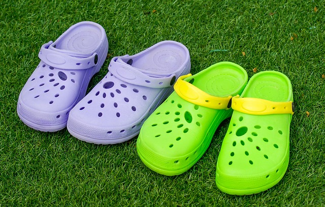 Green and Purple Crocs