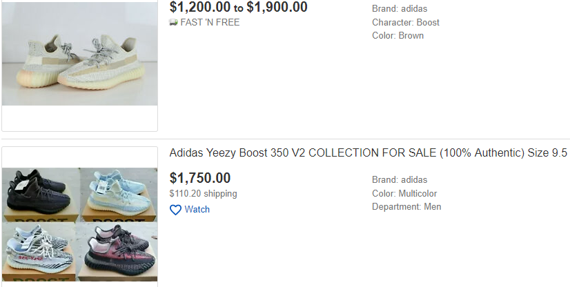 Yeezys on eBay
